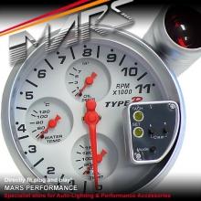 TYPE-R 5 inch 5004R Water & Oil Temperature & Oil Pressure 4 in 1 Tachometer