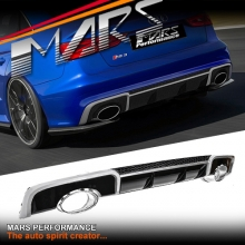 RS3 Style Rear Bumper Diffuser with Tips for AUDI A3 8V Sedan & Convertible 13-16