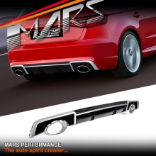 RS3 Style rear bumper diffuser + Tips for AUDI A3 8V HatchBack Pre update 13-16