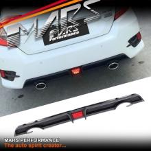 Matt Black RR Style Rear Bumper bar Diffuser Lip with LED Lights for Honda Civic FC Sedan MY16+