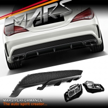 AMG CLA45 Style Rear Bumper bar Diffuser with Exhaust Tips for Mercedes-Benz CLA Class C117 W117