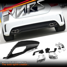 AMG A45 Style Rear Bumper bar Diffuser with Exhaust Tips for Mercedes-Benz A Class W176