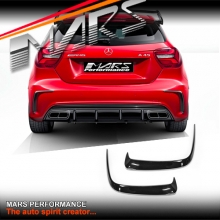 Gloss Black Rear bumper Bar side Splitter Vent Covers for Mercedes-Benz W176 A45 & AMG Package
