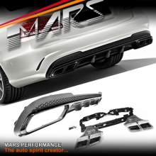 Gloss Black AMG E63 Style Rear Bumper bar Diffuser with Exhaust Tips for Mercedes-Benz W212 Sedan 14-16 (AMG Package)