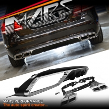 Chrome Black AMG E63 Style Rear Bumper bar Diffuser with Exhaust Tips for Mercedes-Benz W212 Sedan 14-16 (OEM Bumper)