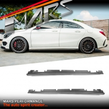 Revozports Style Carbon Side Skirts Lip Spoiler for Mercedes-Benz AMG W117 CLA45 & W176 A45