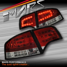 Clear Red LED Tail Lights for AUDI A4 S4 RS4 S-Line B7 05-08 Sedan SN