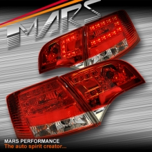 Clear Red LED Tail Lights for AUDI A4 S4 RS4 S-Line B7 AVANT Sports Station Wagon KS