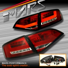 Clear Red 3D LED Stripe Tail Lights for AUDI A4 B8 4D Sedan 08-12 (Replace Stock Non-LED Lights)