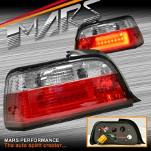 Clear Red 3D LED Stripe Bar Tail lights for BMW 3-Series E36 2 Doors Coupe
