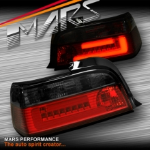 Smoked Red 3D LED Stripe Bar Tail lights for BMW 3-Series E36 2 Doors Coupe