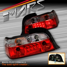 Clear Red 3D LED Tail lights for BMW 3-Series E36 2 Doors Coupe