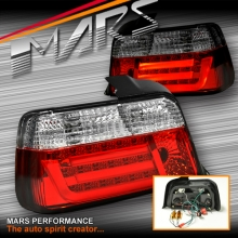 Clear Red 3D LED Stripe Bar Tail lights for BMW 3-Series E36 4 Doors Sedan