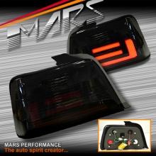 Smoked Black 3D LED Stripe Bar Tail lights for BMW 3-Series E36 4 Doors Sedan
