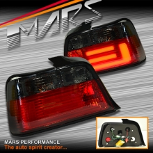 Smoked Red 3D LED Stripe Bar Tail lights for BMW 3-Series E36 4 Doors Sedan