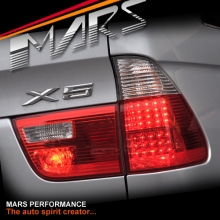 Clear Red LED Tail Lights for BMW X5 E53 00-03 Pre LCI