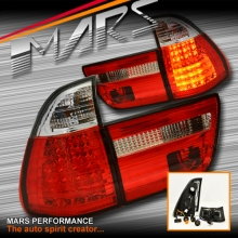 Clear Red LED Tail Lights with Stripe for BMW X5 E53 00-03 Pre LCI