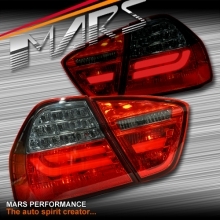 Smoked Red M3 LCI Style 3D LED Stripe Tail Lights for BMW 3-Series E90 Sedan 05-08 Pre LCI