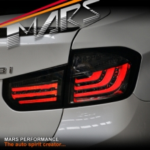 Smoked Black M5 Style 3D Stripe Bar LED Tail Lights for BMW 3 Series F30 12-15 Sedan
