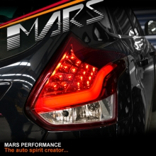 Clear Red 3D Stripe Bar LED Tail lights for Ford Focus LW Hatch 12-15