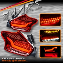 Clear Red 3D Stripe Bar Full LED Tail lights for Ford Focus LZ Hatch 15-17