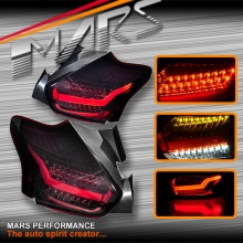 Smoked Red 3D Stripe Bar Full LED Tail lights for Ford Focus LZ Hatch 15-17
