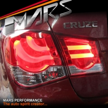 Clear Red 3D LED Stripe Bar Tail Lights for Holden Cruze Sedan 09-16 JG JH