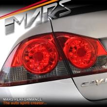 Smoked Red LED Tail Lights for Honda Civic FD Sedan 06-12