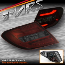 Smoked Red LED 3D Stripe Bar Tail Lights for Mercedes-Benz C-Class W204 07-10 Sedan