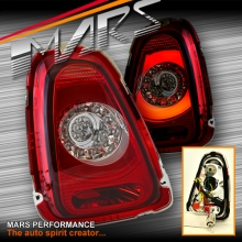 Clear Red Tail lights with 3D Stripe Bar & LED Indicators for Mini Cooper Hatch R56 LCI 10-13