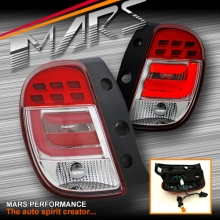 Clear Red 3D LED Stripe Tail Lights for Nissan Micra K13 10-14