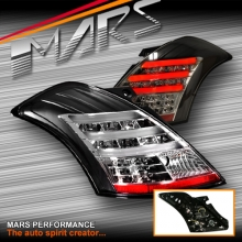 JDM Black LED 3D Stripe Tail lights with LED indicators for Suzuki Swift Hatch 11-17
