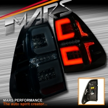 Smoked 3D Stripe Bar Full LED Tail lights with Dynamic Indicators for Toyota Hilux 2015-2017