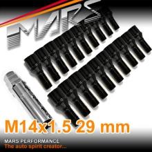 Black Mars Performance wheels M14 x 1.5 29mm ultra slim 7 spline Lock Bolts Set (20 pcs) with Key
