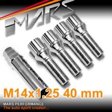 Chrome Mars Performance wheels M14 x 1.25 40mm ultra slim 7 spline Lock Bolts Set (4 pcs) with Key