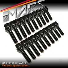 Black Mars Performance wheels M12 x 1.5 38mm extended long Bolts Set (20 pcs) for spacers