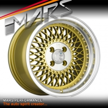 Klutch SL1 15 x 8.5 Inch Gold Mesh with Deep Chrome Dish Alloy Wheels Rims 4 x 100 ET17