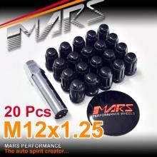 Black Mars Performance wheels M12 x 1.25 mm ultra slim 7 spline Security Lock Nuts Set (20 pcs) with Key