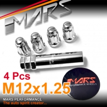 Chrome Mars Performance wheels M12 x 1.25 mm ultra slim 7 spline Security Lock Nuts Set (4 pcs) with Key
