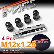 Black Mars Performance wheels M12 x 1.25 mm ultra slim 7 spline Security Lock Nuts Set (4 pcs) with Key