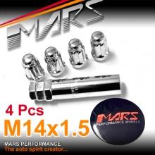 Chrome Mars Performance wheels M14 x 1.5 mm ultra slim 7 spline Security Lock Nuts Set (4 pcs) with Key