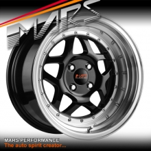 MARS MP-30 4 x 16 Inch Stag Gloss Black with Polished Deep Dish Alloy Wheels Rims 4x100 or 4x114.3