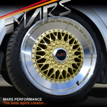 MARS MP-RS 18 inch Gold Mesh Face with Polished lip Alloy Wheels Rims 5x120