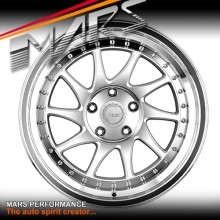 MARS MP-S2 Machined Silver Twist Spork with Dish 18 inch JDM Stag Alloy Wheels Rims 5 x100