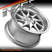 MARS MP-S2 Machined Silver Twist Spork with Dish 18 inch JDM Stag Alloy Wheels Rims 5 x 112