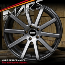 VMR V702 4 x 19 Inch Matte Gunmetal with Aluminium Brushed Face Alloy Wheels Rims 5x112