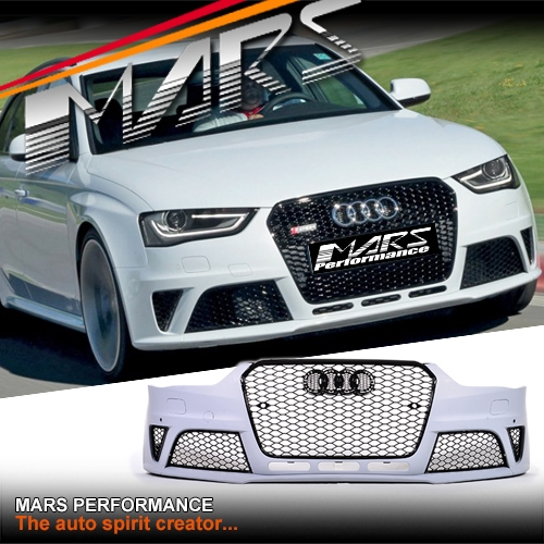 Rs4 Style Front Bumper Bar With Grille For Audi A4 S4 B8 12 16 Sedan