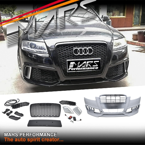 rs6 style front bumper bar with grille for audi a6 s6 4f 04 11 mars performance. Black Bedroom Furniture Sets. Home Design Ideas