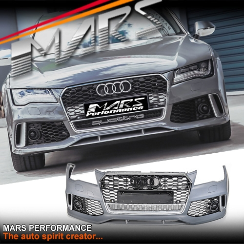 Rs7 Style Front Bumper Bar With Chrome Black Honeycomb Grille For