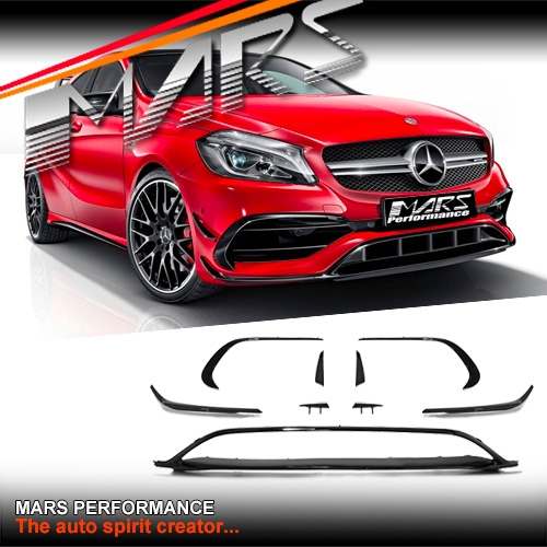 Gloss Black Front Bumper Aero Lip Kits Side Blade Canards For